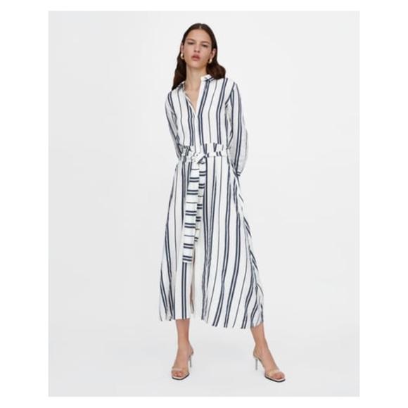 61a27f7f8b2 NWT Zara Striped Linen Tunic Dress